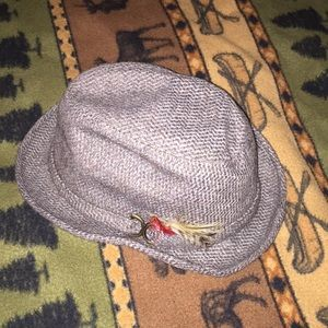 Adam New York grey tweed hat with feather detail